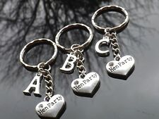 Personalised Hen Party Keyring With Rhinestone Heart & Silver Plated Initial