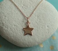 Sterling Silver Rose Gold Vermeil Star Pendant Necklace - UK Seller