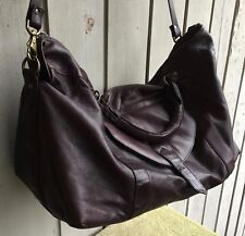 "Leather duffel bag travel bag tote Dark brown Columbia S A VGC Large 14.5"" x 26"""