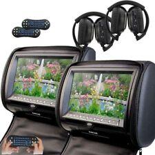 "Black 2X 9"" Car Seat Pillow Headrest DVD Player Game IR Sony laser lens Headsets"