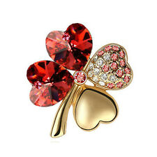 Elegant Gold & Red 4 Leaf-Clover Jewellery Brooch Pin BR334
