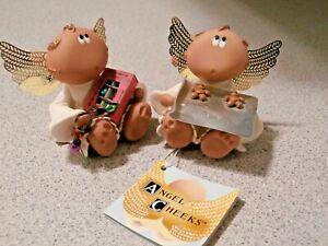 """2 Russ Angel Cheeks Kirk's Kritters 2001 Angels Figurines New 2.5"""""""