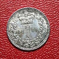 #1070 - RARE QUALITE Royaume Uni 1 d 1869 Victoria Saint Penny SUP/SPL FACTURE