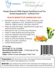 Simply Natural 100% Organic Dandelion Leaf Tea Herbal Supplement 30 Bags- Caffe