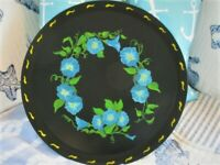 Vintage Hand Painted Blue Morning Glory Round Kitchen Mid Century Tole Tray
