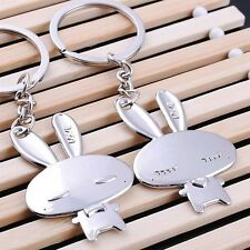 Cute Metal Rabbit 3D Chrome Keychain Couples Lovers Gift Keyring Keyfob Silver