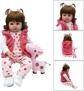 "22"" Reborn Baby Dolls Vinyl Silicone Real Long Hair Toddler Doll Girl Gift Toys"