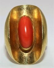 18K Gold Yellow 750 Coral Natural Ring Statement Red Orange Size 6 Vintage