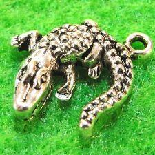 50Pcs. WHOLESALE Tibetan Silver ALLIGATOR Crocodile Charms Pendants Drops Q1206
