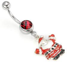 "14g 7/16"" Christmas Santa Dangle Belly Button Ring"