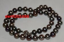 """18"""" AAAA 9-10mm round tahitian multicolor pearl necklace 14K Gold CLASP"""