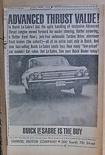 1962 newspaper ad for Buick - LeSabre, Advanced Thrust Value! Agile Handling