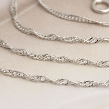 Womens Fashion Silver Necklace White Gold Filled Wave Wave Chain 18.1 inch