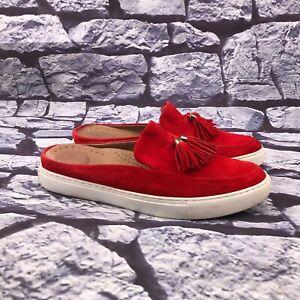 Gentle Souls Rory Slip Women Red Suede Tassel Slip On Slides Mules Size 9 M