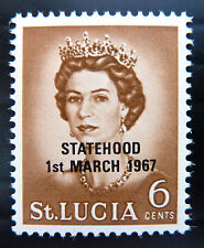 St LUCIA 1967 Statehood 6c OPT in Black Instead of Red U/M SALE PRICE BN1007