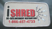 """I SHRED EMBROIDERED SEW ON PATCH DOCUMENT DESTRUCTION PAPER 4 1/2"""" x 2 1/2"""""""