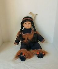 """VINTAGE ASHLEY BELLE DOLL INDIAN MAIDEN 11"""" SITTING FIXED BROWN EYES BLACK HAIR"""