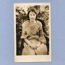 Vintage Photograph Real Photo Postcard 1910s Undivided Back Seated Lady With Bob
