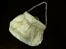 Beautiful Vintage Satin Made in England Floral Evening Bag with mirror 1950 1