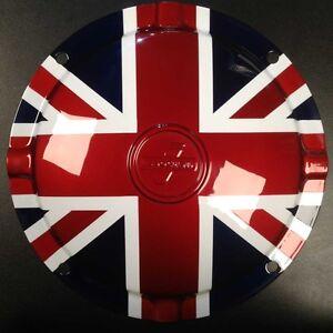 "Spare wheel hub cap Union Jack 10"" 4 hole Innocenti logo for Lambretta"