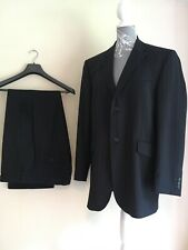 "Mens Karl Jackson Navy Blue / Black Wool Suit Jacket Size 42"" R & Trousers 36"" R"