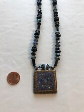 CHICO'S Square Pendant Necklace Mother of Pearl Blue Metallic Beads