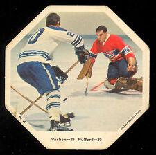 1967-68 York Octagons Hockey Card #15 Bob Pulford vs Rogatien Vachon Canadiens