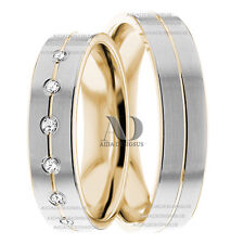 Flat Matching Diamond Wedding Band Set 0.18Ctw 5mm Solid 14K Gold Two Tone Rings