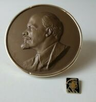 Vintage metal desktop bas relief portrait V.I. Lenin - Soviet Collectable USSR