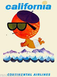 California Beach Continental United States America Travel Advertisement Poster