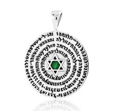 72 HOLY NAMES OF GOD Pendant Malachite Star Of David Kabbalah 925 Silver Israel