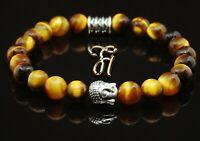 Tigerauge braun glänzend Armband Bracelet Perlenarmband Buddhakopf silber 8mm