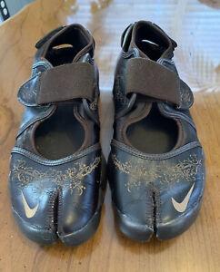Nike Air Rift Split Toe Lightweight Running Shoes Women's Size 8 Brown/Gold