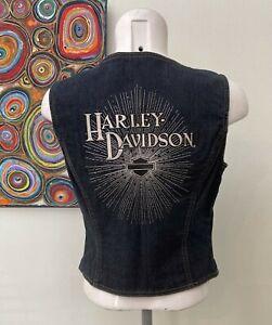 Genuine Harley Davidson  - Blue Denim Sleeveless Spell Out Biker Vest -Small/Med