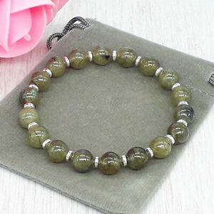 Handmade Natural Labradorite Gemstone Stretch Bracelet & Velvet Pouch. 6/8mm.