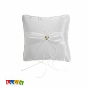Cuscino Porta Fedi Bianco con TULLE e CUORI - Matrimonio Wedding Portafedi Sposi
