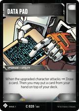 Transformers TCG 3X DATA PAD Common C 020/081 - Wave 1 2018 Battle Cards Hasbro