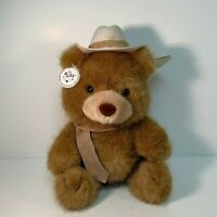 RUSS Cowboy Teddy Bear With Hat & Tie Plush Stuffed Animal Soft N' Suede 9 inch