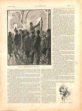 Course de chiens ratier contre des rats nord de la France GRAVURE 1894