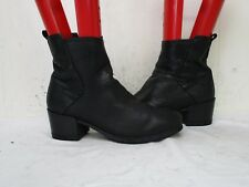 Felmini Falling in Love Black Leather Zip Ankle Boots Womens Size 37 EUR