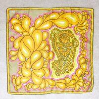 Vintage Vera Neumann Yellow Pink Turkish Paisley Silk Scarf Square 22 X 22