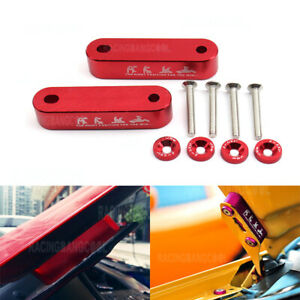 Red Password Billet Aluminum Hood Vent Spacer Risers with 4pcs fender washers
