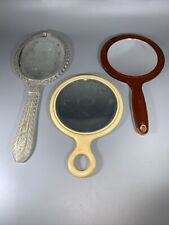 Lot of 3 vintage vanity hand mirrors beveled Celluloid Bakelite Plastic