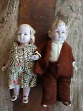 "Antique Dolls (2) German, original painted features. Orig.handmade clothes. 5"""