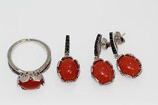925 SS Orange Chalcedony/Black Spinel Ring,Pendant,Earring Set(11.56 cts)