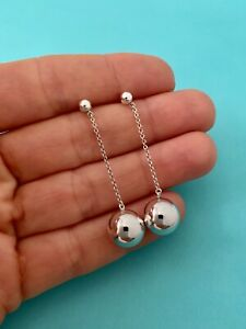 Tiffany & Co Sterling Silver 10mm HardWear Bead Ball Drop Dangle Earrings. Rare