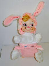 Vintage Rushton Rubber Face Faced Baby Bunny Rabbit w Diaper Pin & Body Tag VHTF