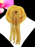 GORGEOUS SIGNED HATTIE CARNEGIE GOLD-TONE FINISH MESH ROSE CHAIN TASSEL BROOCH