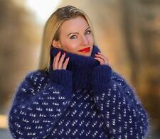 Blue hand knitted mohair sweater thick mens turtleneck fuzzy pullover SUPERTANYA
