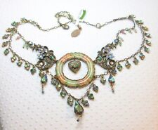 NWT $349 Michal Negrin Victorian Enameled Crystal Locket Statement Necklace